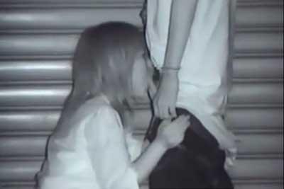 【盗撮動画】深夜の街中のビルの陰でなんとフェラ抜きしてるヤンキーカップルがいたので赤外線カメラで一部始終を盗撮してやりましたwww
