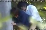 【盗撮動画】自宅やラブホでセックス出来ないJKのカップルが公園の茂みで彼氏にバックから挿入してもらってるところ発見したんで遠目から隠し撮り!