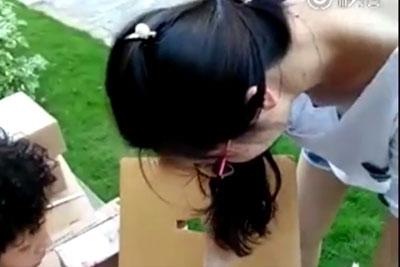 【盗撮動画】夏休みに親戚衆を呼んでバーベキューとかしたんですけど、親戚の女の子がノーブラで胸チラしまくってたんで盗撮しておきましたww