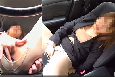 【盗撮動画】社用車で外回り中タイトスカート大股開きでストッキング破いてパンティーの脇から指ズボズボ突っ込んでオナニーしちゃう変態素人OL会社員を隠し撮りw