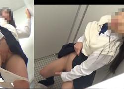 【盗撮動画】超名門有名女子校のトイレ盗撮で激写された優等生系JKのスタンディング手マンオナニーでイキまくってるところw